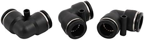 uxcell クイック継手 プッシュインコネクタ L型双方向コネクタ 3個入り ブラック シルバートーン プラスチック 金属 16mm 空気圧継手