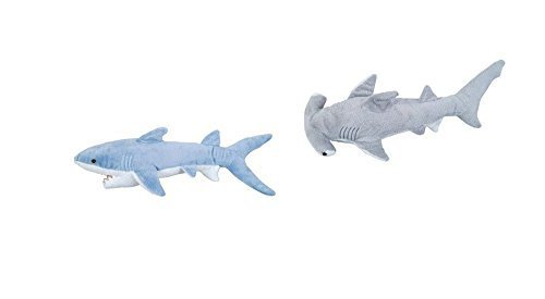 Adventure Planet - Set of 2 Plush SHARKS Mako and Hammerhead Shark - Stuffed Animal -Ocean Life - Soft Cuddly Shark Week Tank Toy, 14in. and 13in. ()