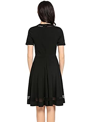 Cindere Women's A-line Pleated Swing Mesh Patchwork Short Sleeve Flare Casual Party Dress