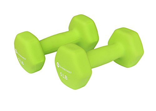 Gymenist Pair Of Dumbbells Set Of 2 Soft Non Slip Grip Dumbbells Pair Covered With Neoprene (5 LB)