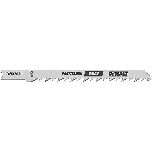 DEWALT DW3703H2 4-Inch 6TPI Fast Clean High Cobalt Steel U-Shank Woodcutting Jig Saw Blade (2-Pack)