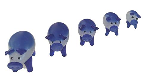 Glass Pig Blown (Wu Crystal Hand Blown Glass Blue Pig Family)