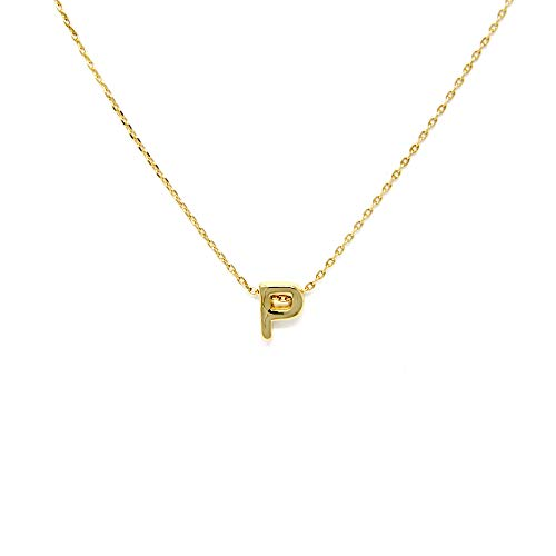 Me Plus Petite Initial Letter Alphabet Pendant Charm Gold Dipped Necklace Gold Silver Rosegold (23 Letters) (P - Gold)