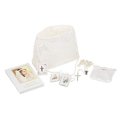 Roman My First Communion Girl Prayer Book Rosary Pin Purse 6 Piece Set -