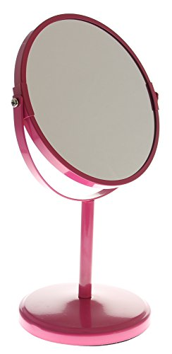 JustNile Two-Sided (1X-3X) Tabletop Vanity Mirror - Pink Tall Stand w/New Base