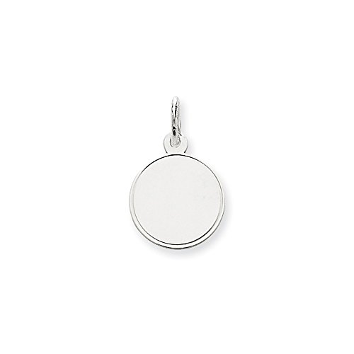 (14k White Gold .011 Gauge Round Engravable Disc Pendant Charm Necklace Rimmed Edge Fine Jewelry Gifts For Women For Her)