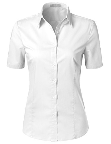 H2H Womens Versatile Short Sleeve Slim Fit Button Down Shirt Blouse Top White - Dress Pintuck Sleeve Short