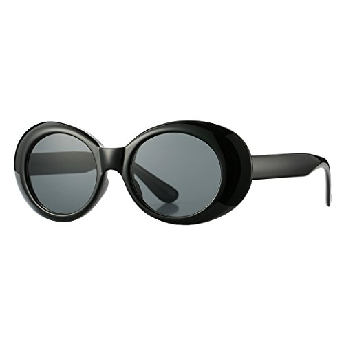 Retro Clout Goggles Sunglasses for Women Vintage Oval Bold Frame Round Lens Glasses ()