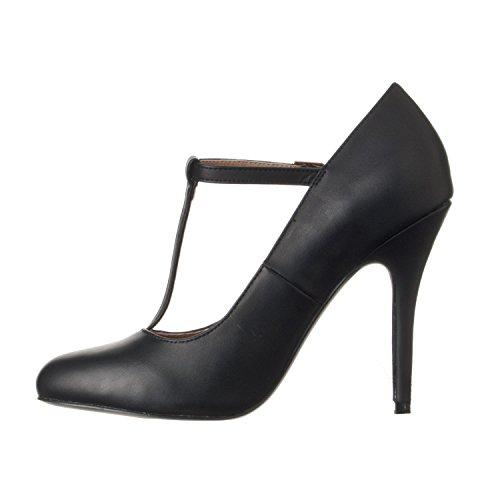 Pu Black Heel Strap Riverberry High T Toe Women's Sadie Round Pumps vwpH4