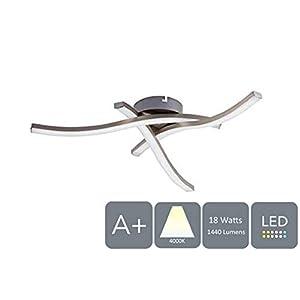 HARPER LIVING 3-Light LED, Semi-Flush Ceiling Light, Satin Nickel Finish, 18 Watts 1440 Lumens, Natural White (4000K…