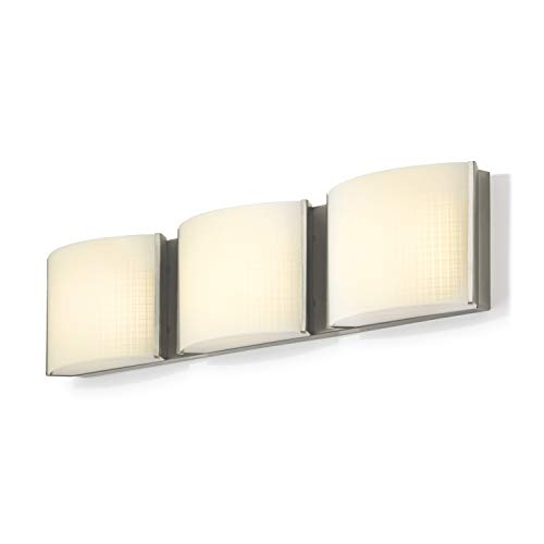 3-Light Nickel Vanity Fixture - LED Bathroom Mirror Lamp, Textured Linen Glass, Hardwire, Damp Located, Fully Dimmable - ETL ()