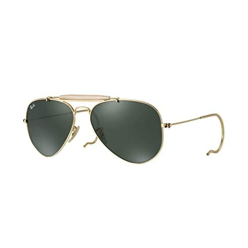 Ray Ban Aviator Outdoorsman RB3030 L0216 58-14 Sunglasses Pilot Shape Gold Frame Crystal Green Solid Lenses