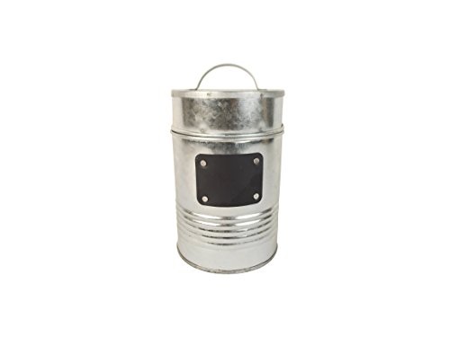 Craft Outlet Silver Tin Container with Lid and Chalk Board, 4 x 4 x 7