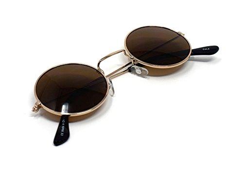 Soleil Femmes Marrones UV400 Petit Classique John Style Lunettes Oro Lentes Unisexe Con Hommes Qualité Retro Rondes Lennon Elton Adultes de Vintage Sqx6AtFR