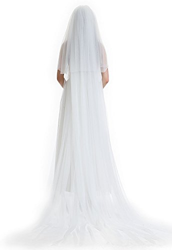 BEAUTELICATE 3T Bridal Wedding Chapel Veil with Comb Cut Edge-V61(Ivory) by BEAUTELICATE