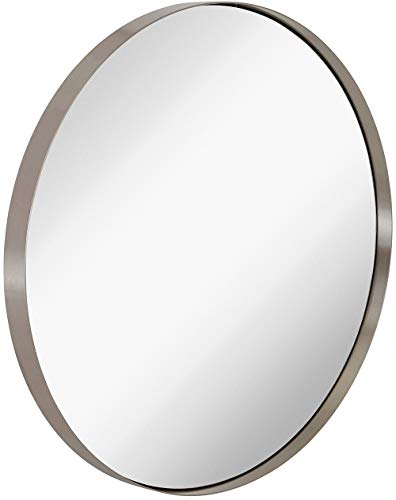Hamilton Hills Contemporary Brushed Metal Silver Wall Mirror | Glass Panel Silver -