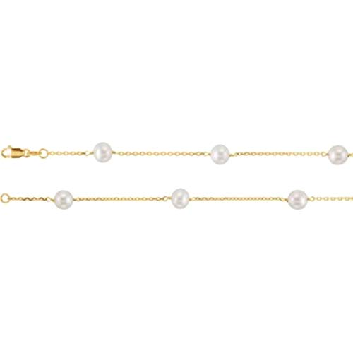 Bonyak Jewelry 14k Yellow Gold Pearl Station 16