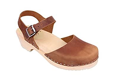 Lotta From Stockholm Low Wood Clogs in Brown Oiled Nubuck (37 M EU / 6.5 B(M) US)