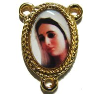 Gold Queen of Peace center for rosary beads religious connector junction 25mm