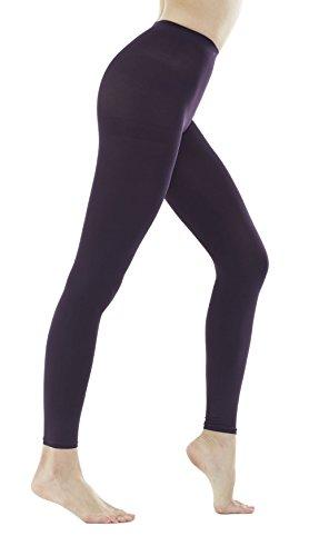 Women's 150 Denier Thick Footless Tights Pantyhose (Dark Purple - 1Pair, S/M)