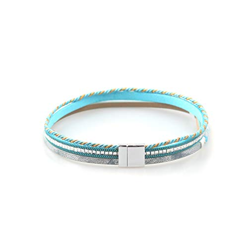 - TSANLY Multi-Layer Leather Bracelet Bohemian Bangle with Alloy Magnetic Clasp Braided Wrap Cuff Bangle Jewelry for Women