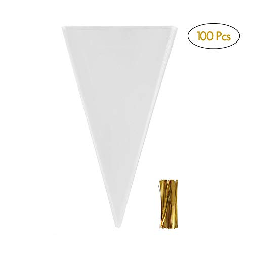 Cone Shaped Bags (Annietfr 100 Pcs Clear Cone Shaped Treat Bags with Twist Ties - 1.4 mils Thick OPP Plastic Cello Bags Triangle for Favor Christmas Candy Popcorn)
