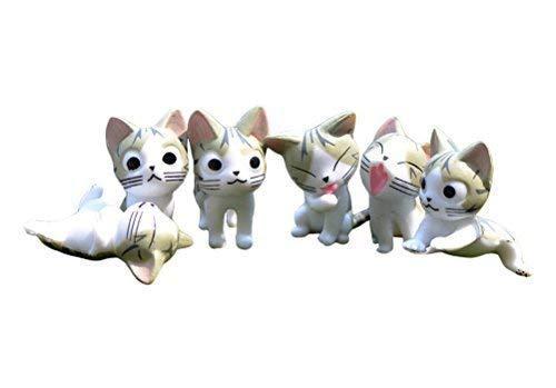 Miraclekoo 6 Piece Miniature Fairy Garden Cat Figures Dollhouse Plant Pot DIY Decor Home Decoration Chi Cat Dolls Animal Figures Collection Toy (Grey)