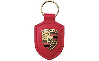 Angel Mall Porsche Red Crest Leather Key Chain Car Logo Key Ring Fashion Gift 1-pc Set