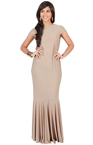 KOH KOH Plus Size Womens Long Cap Short Sleeve Formal Sexy Evening Prom Cocktail Bridesmaids Wedding Party Guest Tube Flowy Cute Fishtail Gown Gowns Maxi Dress Dresses, Brown/Latte 2XL 18-20 by KOH KOH