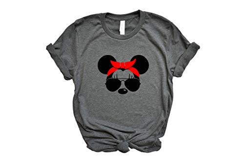 - Unisex Minnie Mouse with Lashes, Aviators, and Red Bandana Tshirt Plus Size Available