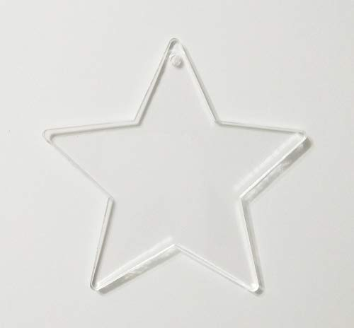 RUIXUAN 15PCS of Acrylic Christmas Ornaments Blanks Stars 1/8