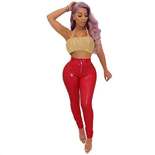 a2f5751b368b6d Women's Winter Faux Leather Leggings - Fleece Lining High Waisted Pleather  Pants Red X-Large