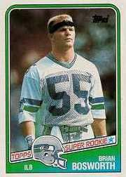 (1988 Topps Brian Bosworth Rookie Football Card #144 - Shipped In Protective Display)