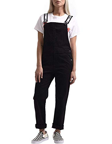Dickies Girl Junior's Denim Bib Overall with Logo Strap, Black, Small