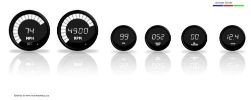 Set of 6 Digital Gauges From Intellitronix in White w/ water temp and oil pressure -