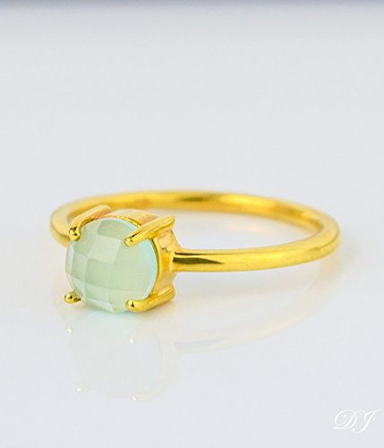 Aqua Chalcedony ring, stackable ring, Vermeil Gold or silver, prong set ring, round ring, March Birthstone ring, Birthday gift, blue round 6mm ring