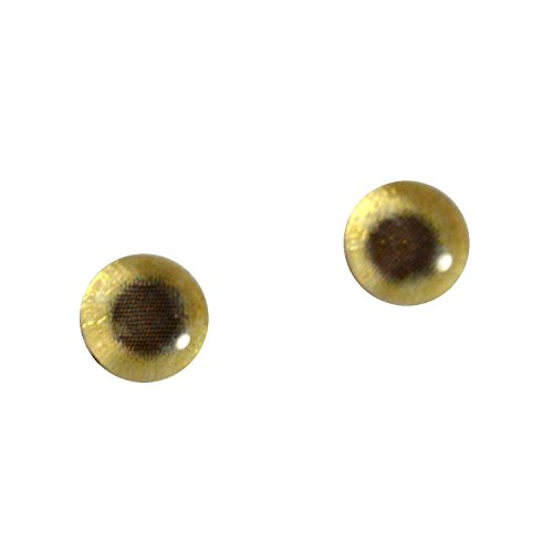 (6mm Glass Eyes Gold Tone Metallic Pair Taxidermy Sculptures or Jewelry Making Crafts Set of 2 )