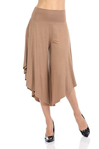 (Ladybug Women's Solid Long Pants Flowy Wide Leg Palazzo Pants Fold Over Side Slit S-Plus Sizes (2X, Khaki-1082))