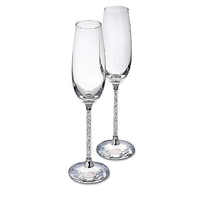 Image of SWAROVSKI CRYSTALLINE TOASTING FLUTES SET OF 2 Champagne Glasses