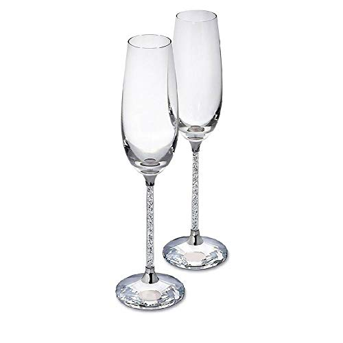 (SWAROVSKI CRYSTALLINE TOASTING FLUTES SET OF 2)
