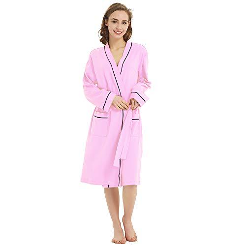Teen Robe Lightweight with Pocket Soft Comfy Fashion Summer Bathrobe (Pink L)
