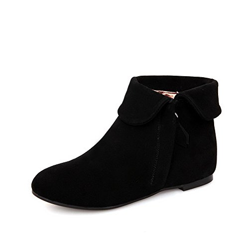 Slipping Elevator Sole Heels Boot AmoonyFashion Toe Black with Round In Low Women's Shoes Toe and Closed 16xHOW1
