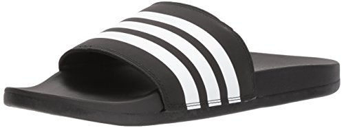 adidas Men's Adilette Comfort Slide Sandal White/Black, 4 M US by adidas