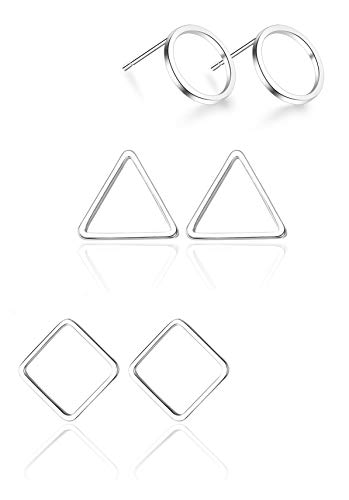 925 Sterling Silver Circle Triangle Square Stud Earrings Set(3 Pairs) ()