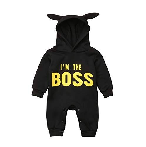 Newborn Infant Baby Boy Girl I'm The Boss Ears Hooded Fleece Romper Jumpsuit Winter Clothes (0-6 Months)