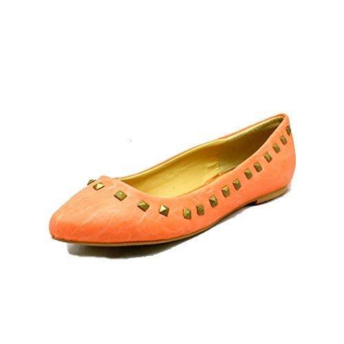 Rosa 6 con Estrecha Zapatillas Borde Mujer Plano Zapatos Punta RU Jaspeado Tachuelas 6wnHqvP4