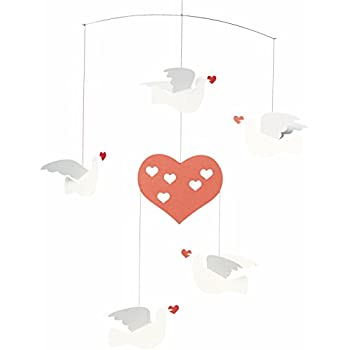 Flensted Mobile Peace and Love Dove Single Hanging Bird Heart Home Decor Danish
