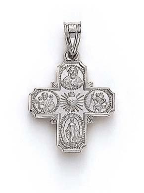 Blanc 14 carats à 4 Voies-Pendentif médaillon JewelryWeb