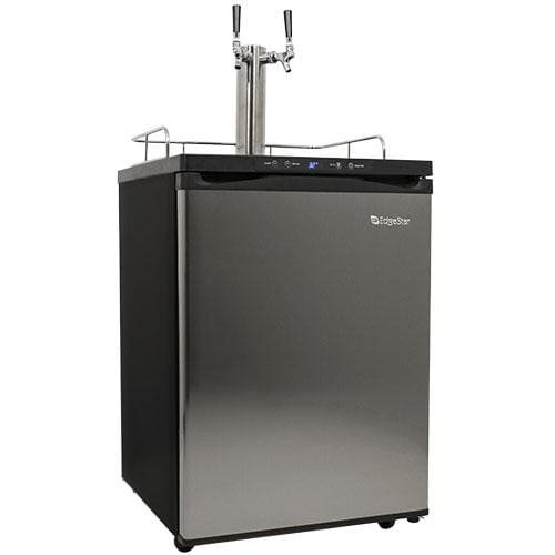 EdgeStar KC3000SSTWIN Full Size Dual Tap Kegerator with Digital Display - Black and Stainless Steel by EdgeStar