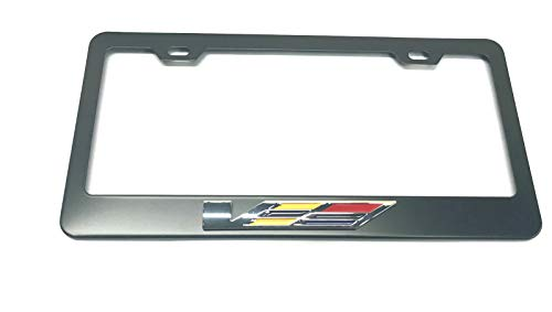 Usudu 3D V-Series STS CTS Logo Emblem Stainless Steel License Plate Frame Rust Free W/Bolt Caps for Cadillac (Black)